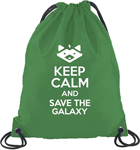 Shirtstreet24, Keep Calm And Save The Galaxy, Turnbeutel Rucksack Sport Beutel Kelly Green