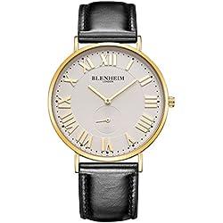 Blenheim London® Kensington Golden Case White Dial Watch with Black Leather Bracelet