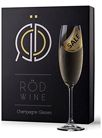 RÖD Wine Best Gift Glassware Collection Lead Free Crystal Champagne Flutes Glasses (220 ml, Set of