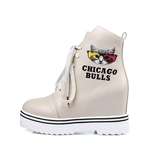 AgooLar Damen Hoher Absatz Weiches Material Gemischte Farbe Schnüren Stiefel Cremefarben
