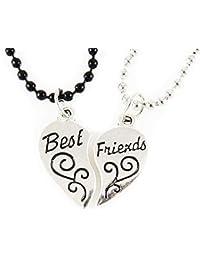 6126104fa240 AKIEE Colgante Collar Best Friends Forever BFF Mejores Amigos Amistad  Plateado y Negro