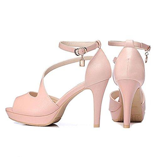 W&LM Signorina Tacchi alti sandali Fibbia di parole Spessore inferiore Bocca di pesce bene Piattaforma impermeabile sandali Pink