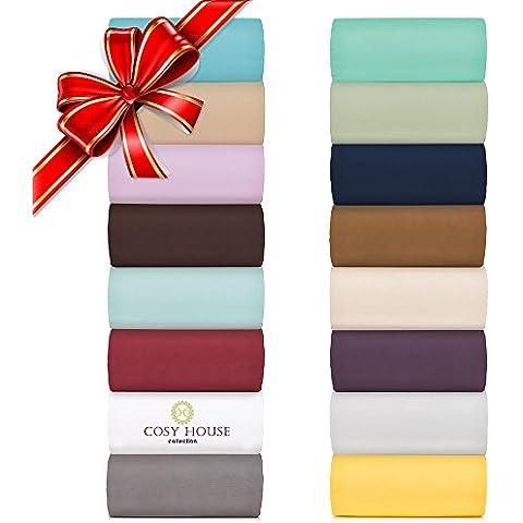 Cosy House Collection Bed Sheet Sets 4 Pc-Morbido come la seta, arricciato, biancheria da letto in microfibra, non sbiadisce, resistente alle macchie, tasca profonda con angoli, lenzuola & federe, ipoallergenico, cioccolato, SUPER KING