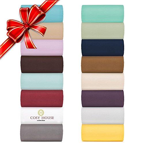 Cosy House Collection Bed Sheet Sets 4 Pc-Morbido come la seta, arricciato, biancheria da letto in microfibra, non sbiadisce, resistente alle macchie, tasca profonda con angoli, lenzuola & federe, ipoallergenico, talpa, Completo