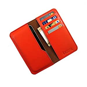 i-KitPit : Genuine Leather Wallet Flip Pouch Case For Micromax Bolt A47 (ORANGE)