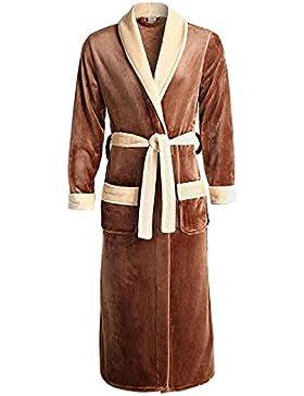 Camisón de otoño e invierno para hombres/Flannel confort cálido albornoz/pijama de moda con cuello en V Ropa de...