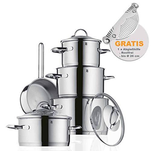 WMF Premium Topfset 10-teilig Induktion, Cromargan Edelstahl Pfanne und Töpfe mit Gratis Abgießhilfe, 4 Kochtöpfe mit Glas Topfdeckel,16cm Stielkasserolle, Induktionsherd geeignet