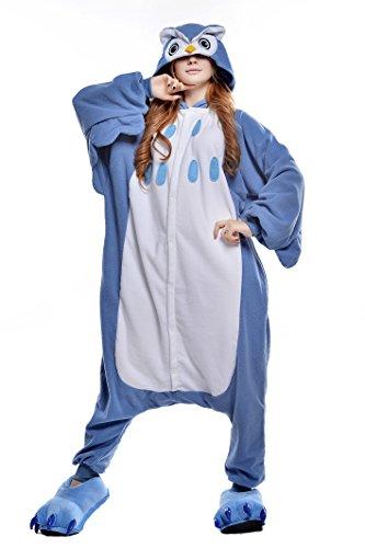 Canasour Pyjamas Kostüm Jumpsuit Tier Schlafanzug Erwachsene Unisex Fasching Cosplay Karneval (M, Owl)