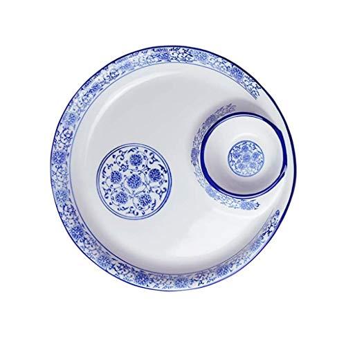 HEMFV Kreatives blaues und weißes Porzellan, Hauptplattenhotel mit kariertem Sushisoßenmehlkloßteller mit Essig Platte (größe : 30cm) (Kerze Säule-platte)