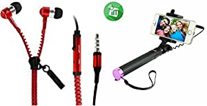 MIRZA Zipper Earphones & Selfie Stick for PANASONIC ELUGA MARK(Zipper Earphones||With MIC||Zipper Earphones & Selfie Stick)