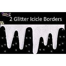 Bordi decorativi con ghiaccioli di neve glitterati (confezione da 2)