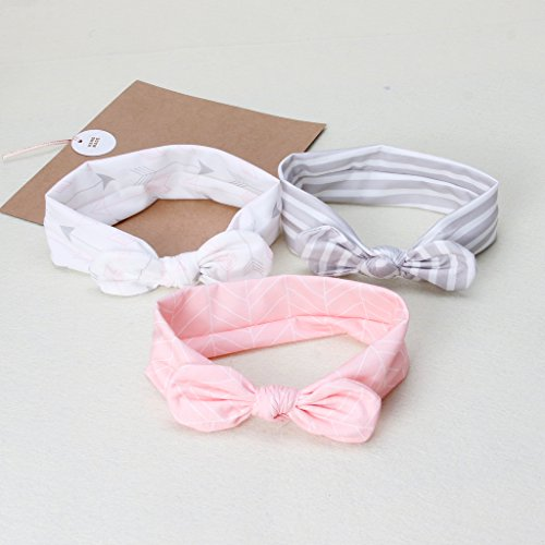 Manyo 3 Stück/Satz Niedliches Elastisches Stirnband für Baby - Neueste Turban Haarband - Baby Foto Requisiten, 40cm, Baumwolle, 8 Stil zu wählen. (07)