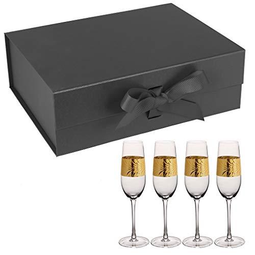 4 en relief 300 ml Art Déco Feuille d'or à pied Prosecco flûtes et Noir Boîte cadeau