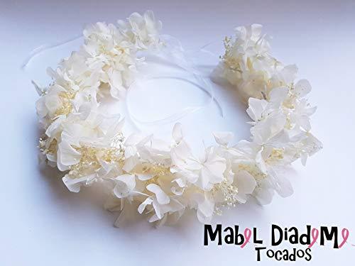Mabel Diademe Corona bodas comunion flores preservadas blanco accesorio pelo eventos festivales bautizos tocados bodas