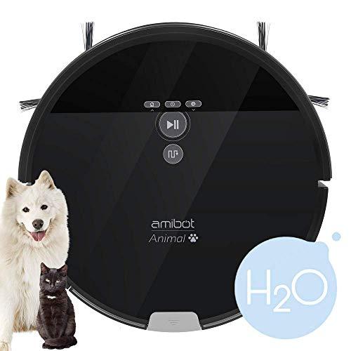 AMIBOT Animal XL H2O - Robot aspirateur et laveur spécial poils d'animaux de compagnie