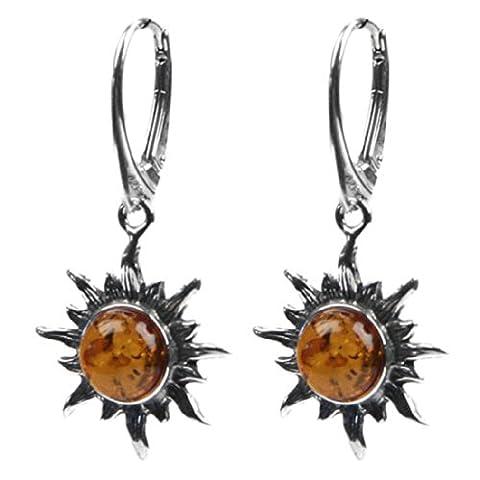 Baltic Honey Amber Sterling Silver Flaming Sun Earrings