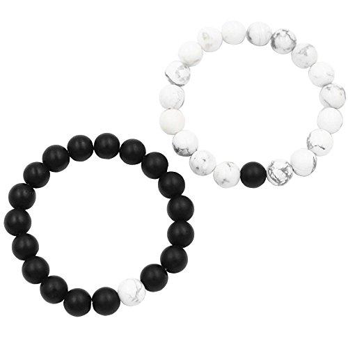 Belons, set di 2 braccialetti elastici per coppie, con perline di howlite bianca e di agata opaca nera da 10mm, set di bracciali per la distanza con pietre energetiche