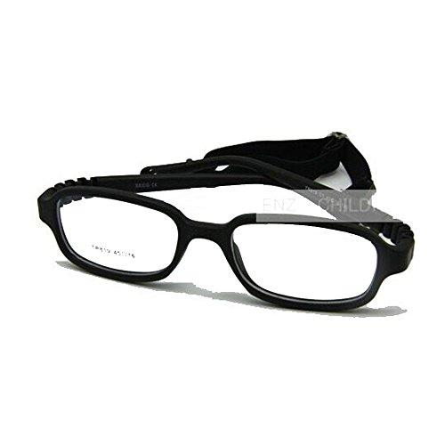 EnzoDate Jungen Mädchen Optische Gläser Frame mit Gurt flexibel für Räume nicht - Kinder, Größe 45 (Schwarz)