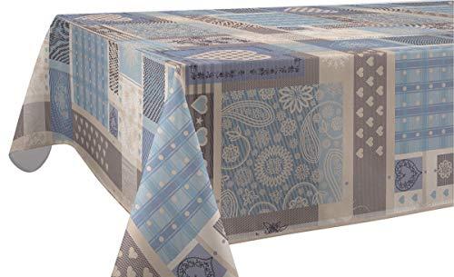 Le linge de Jules Nappe Anti-Taches EOS Bleu - Taille : Carrée 180x180 cm