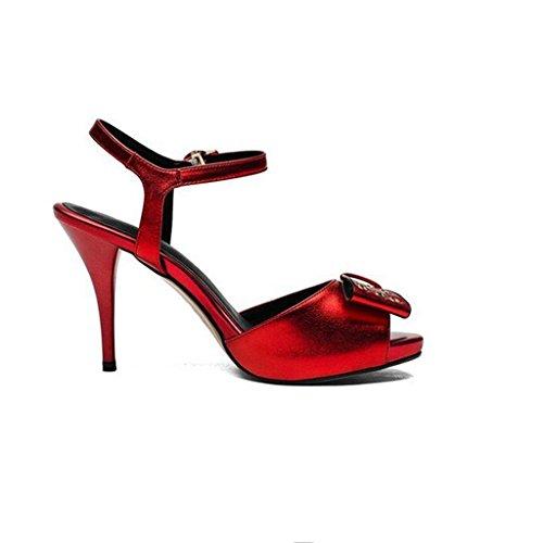 W&LM Signorina vera pelle sandali Bocca di pesce Tacchi alti cravatta scarpa Red