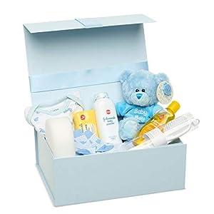 Newborn Baby Gift Set - Baby Shower Hamper for New Baby Boy with Newborn Essentials Including Teddy Bear and Blue Keepsake Box