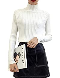 Mujer Casual Color Sólido Manga Larga Suave Y Cómodo Cuello Alto Jerseys Jumper Blusa