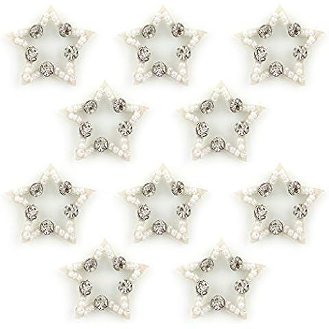 Perlas de No.9 Blanco Forma de Estrella Diamante y Coser Ribetes - adornos para ropa, accesorios - Pack de 10