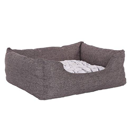 dibea DB00750, Hundebett mit wendbarem Hundekissen, 60 x 50 cm, Grau (Farben/Größe Wählbar)