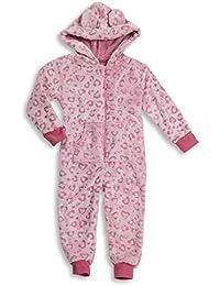 Onezee Girls Kids Hooded All-In-One Leopard Print Jumpsuit Nightwear Sleepwear