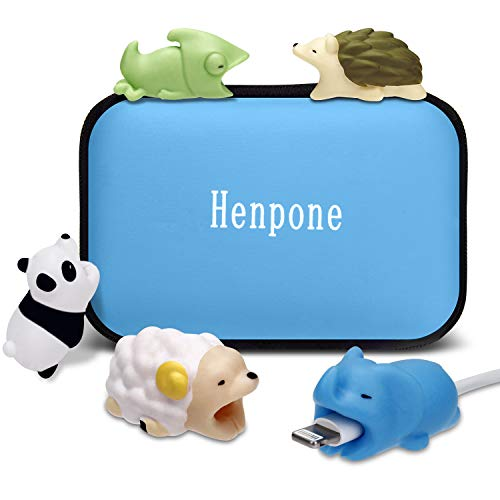 Henpone 5Pcs Protector de Cable para iPhone, Diseño de Animales, mordida de Cable,Protector Cubre para Celular, Universal Electronics Accessories protección para teléfono/Apple/iPhone/iPad Bites