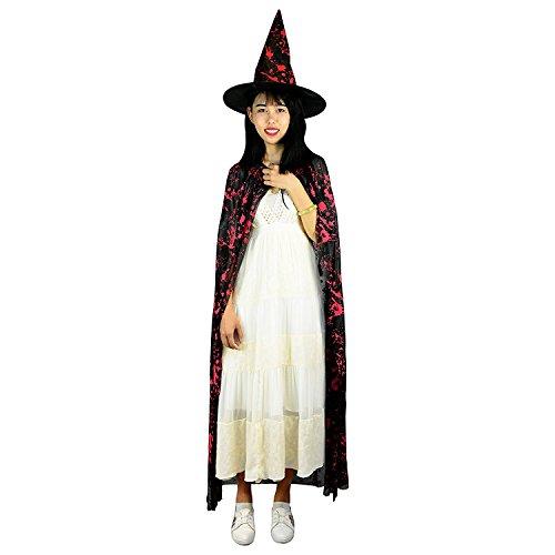 it Hexenhut Halloween Kostüm Cape für Vampirmagier (Mittelalterliche Zauberin Kostüm)