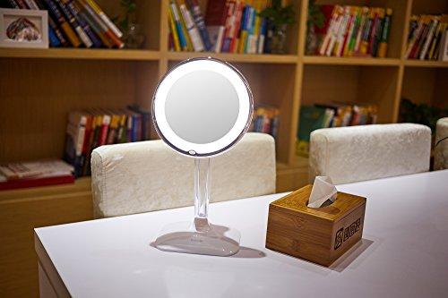 Harcas Schminkspiegel mit Lampen. Kosmetikspiegel mit LED-Beleuchtung und 10X Vergrößerung. Ideal zum Schminken, Rasieren, Zähneputzen, Augenbrauenzupfen und für das Badezimmer oder zum Reisen. Weiß - 6