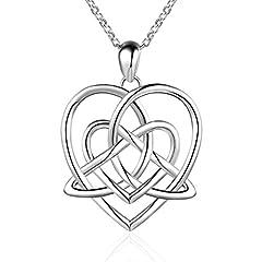 Idea Regalo - Collana vintage in argento sterling con ciondolo porta fortuna a forma di cuore e nodo celtico triangolare, 45,7cm