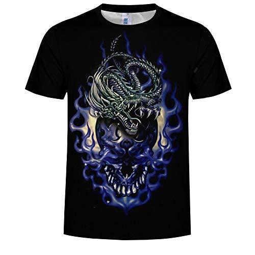 14EU-Haucalarm 3D T-Shirt, Kurzarm T-Shirt Kreative Drachen Rundhals Grafik Lässig Bedruckte T-Shirts (Color : Schwarz, Größe : XXXXXL) - Drachen-grafik-t-shirts