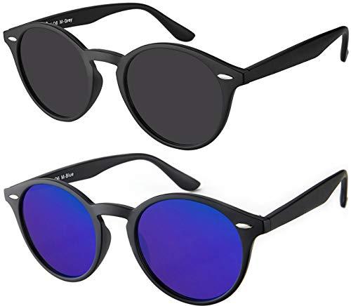 La Optica UV 400 Damen Herren Retro Runde Sonnenbrille Round - Doppelpack Matt Schwarz (Gläser: 1 x Grau, 1 x Blau verspiegelt)