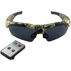 JOYCAM Gafas de sol con Cámara Grabación de Video Gafas Polarizadas HD 720P Cámara de Acción Deportiva Usable con Control Remoto (Camuflaje)