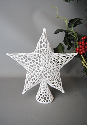 Crochet en tricot Blanc Star Décoration pour sapin