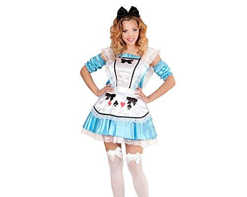 Widmann 73433 - Erwachsenenkostüm Alice, Pettycoat und Schürze, Manschetten, Haarband mit Schleife, blau, Größe (Alice Kostüm Wunderland Im Böse)