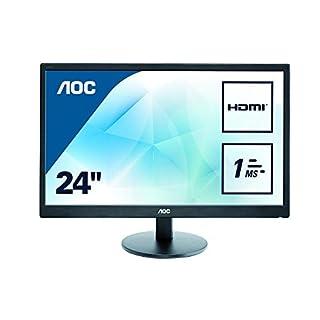 AOC 23.6 inch 1 ms Response Time LED Monitor, HDMI, DVI, VGA, Speakers, Vesa E2470SWH , Black , E2470SWH