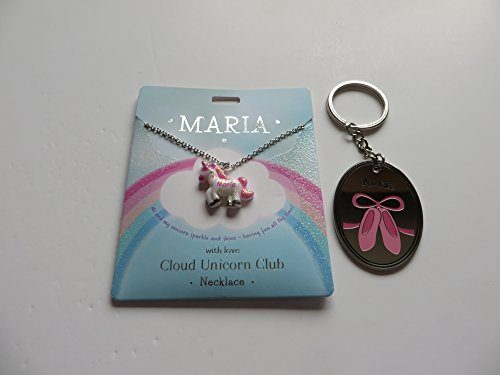 PERSONALISED CLOUD UNICORN NECKLACE FOR MARIA WITH FREE KEYRING