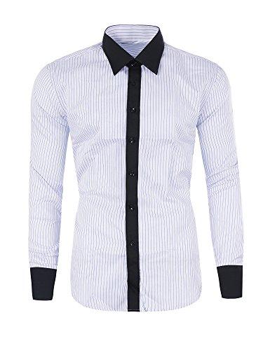 M473 YVES Herren Slim Fit Polo Club Shirt Hemd Langarm Figurbetont Clubwear Weiß