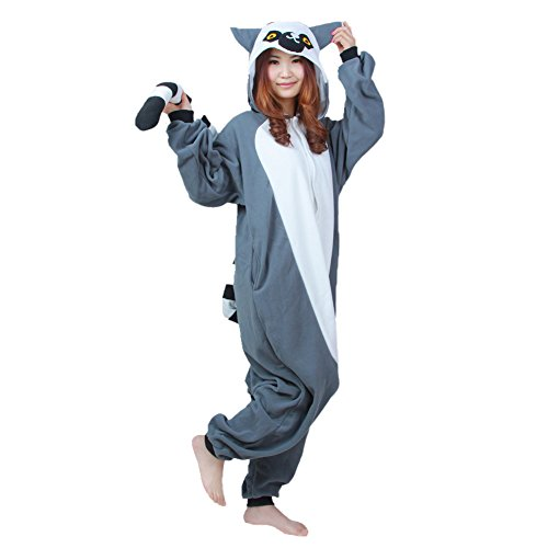 Damen Herren Lounge Wear kigurimi Pyjama Weihnachten anime Wieselmaki Cosplay Tier Erwachsene Kostüme Hoodie Gr. X-Large, Lemur (Teen Kostüm Hoodie)