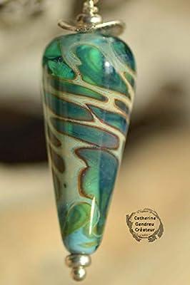 Pendentif turquoise à la feuille d' argent en verre filé,argent 925, bijoux de créateur,bijoux handmade,bijoux artisanaux