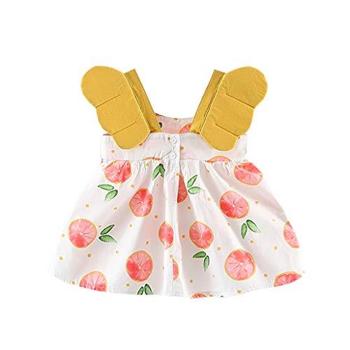 MEIbax Baby Kinder Kleinkind Obst Pfirsich Print Prinzessin Kleid Freizeitkleidung Weste Minikleid Blumenkleid Tanktop Kleid Sommer Säugling Strand Kleider (Pfirsich-rosa-abschlussball-kleid)