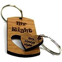 Mr Right Mrs Always Right 1st Valentines day Gift Keyring