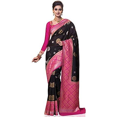 Meghdoot Women's Contemporary Woven Kanchipuram Spun Silk Saree Black and Pink Color Sari
