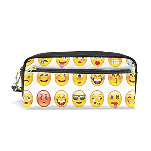 Domoko Cartoon Emoji Smiley PU Leder Pen Pouch Federmappe Fall Make-Up Kosmetik reisen Schule Tasche