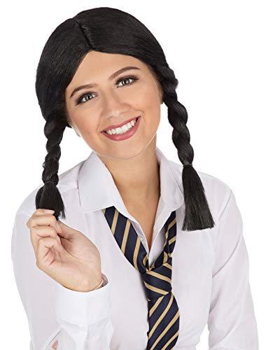 labreeze Damen Schulmädchen-Perücke, schwarzes Zopfmuster Dorothy Halloween Kostüm - Dorothy Kostüm Haar