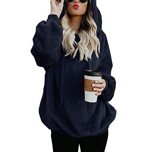 OSYARD Damen Reißverschluss Kapuzenpulli Mantel Winter Warme Wolltaschen Mantel Outwear, Frauen mit Kapuze Fuzzy Sherpa Sweatshirt Fleece Pullover Warmer (M, ()