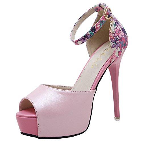 Oasap Women's Peep Toe Buckle Stiletto Heels Floral Sandals Black